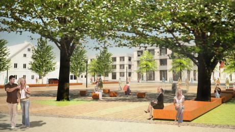 So könnte das Areal rund um den Zehentplatz in Mertingen einmal aussehen. Bis 2022 soll das Projekt umgesetzt werden.