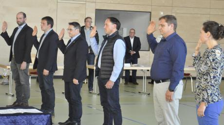 """Sechs """"Neue"""" wurden für den Tapfheimer Gemeinderat vereidigt."""