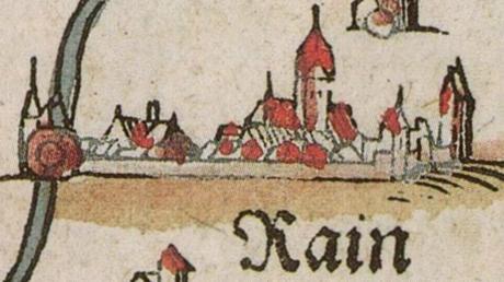 Mittelalterliche Darstellung der Stadt Rain.