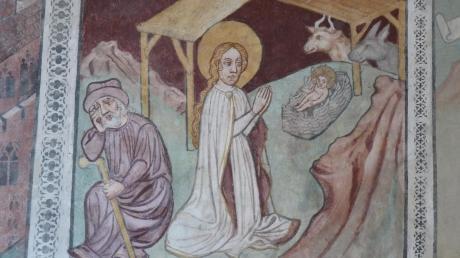 """Dieses Fresko aus der Zeit um 1420 in der Staudheimer Pfarrkirche St. Quirin zeigt die """"Geburt Christi""""."""