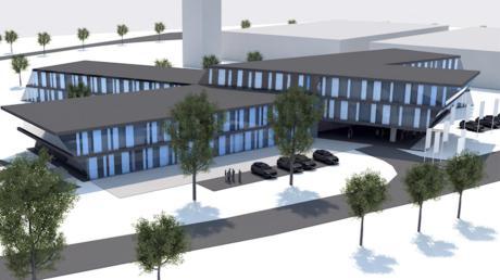 So soll die Geda-Unternehmenszentrale nach neuestem Entwurf in Bäumenheim entstehen.