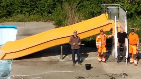 Im Freibad in Tagmersheim wurde im vergangenen Jahr eine Wasserrutsche installiert. Die stand zuvor in Donauwörth.