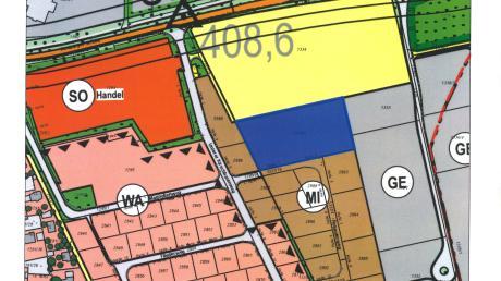 Die blaue Fläche stellt das Grundstück für den neuen Kindergarten in Rain dar. Die nördlich gelegene Staatsstraße 2027 ist die Neuburger Straße.