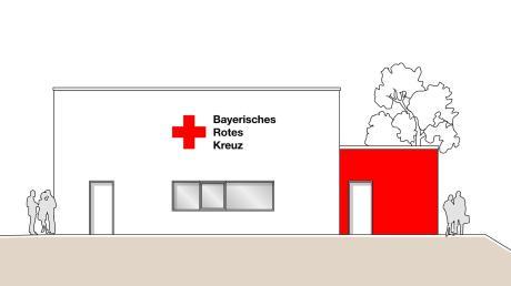 So ist die Südansicht auf die Rettungswache, wenn sie denn ein Flachdach bekommen sollte. Diese Lösung wird vom Bauausschuss Rain favorisiert.