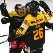 Deutschlands Eishockey-Männern feiern den Sieg im WM-Test gegen die Slowakei. Foto: Karl-Josef Hildenbrand