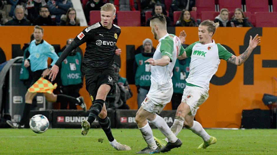 Dortmunds Erling Haaland erzielt das Tor zum 3:5.