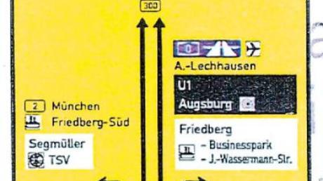 An der B300 zwischen Seestraße und La-Crosse-Ring steht bereits diese Hinweistafel. Bei Stau in Richtung Augsburg empfiehlt sie Autofahrern künftig, die Umleitungsstrecke zu nutzen.