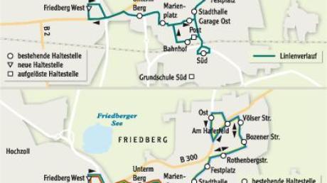 Eine Buslinie für ganz Friedberg – so funktioniert es jetzt. Eine Verbesserung böte das System auf der unteren Grafik, das zu Haupt- und Nebenverkehrszeiten (HVZ/NVZ) ein differenziertes Angebot schafft.