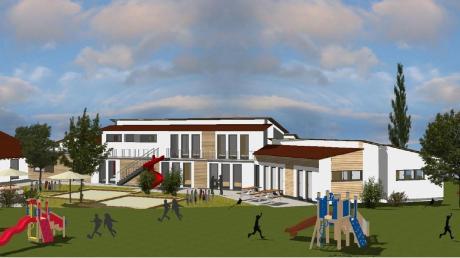 So wird sich die Kindertagesstätte in Eurasburg verändern: Links ist die bestehende Kita zu sehen, die durch den Neubau erweitert werden soll.