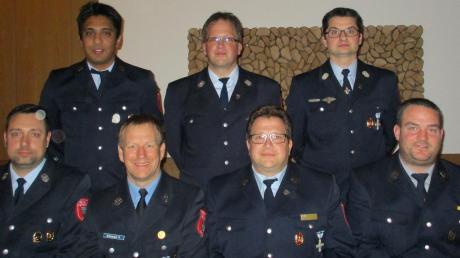 Ehrungen und Beförderungen gab es auf der Jahreshauptversammlung der Feuerwehr Dasing: hinten von links Hans Lutz, Michael Huber und Michael Wiesner; vorne von links: Josef Hahn, Ralf Grünwald, Roland Huber und Anton Arnold.