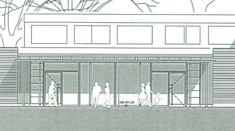 So soll das Trinkl-Anwesen für die Landesausstellung umgebaut werden. Im neuen Gebäudeteil ist das Besucherzentrum mit Ticketverkauf, Wartebereich und Garderobe untergebracht. Unser Bild zeigt die Ansicht von der Burgwallstraße her.