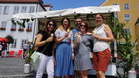 Beim Früchtefest in Friedberg sind einige Besucher unterwegs. Manche halten das Angebot für zu klein. Diese Gruppe ist trotzdem fündig geworden: beim Bauernhofeis-Stand der Familie Lidl aus Mering.