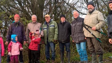 Die Mitglieder des Bund Naturschutz in Friedberg halfen zusammen, um das Biotop auf Ottmaringer Flur zu pflegen. Foto: Linda Kaindl