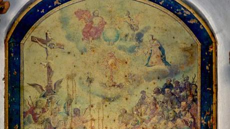 Das Altarblatt in der Kapelle am Badanger in Kissing.