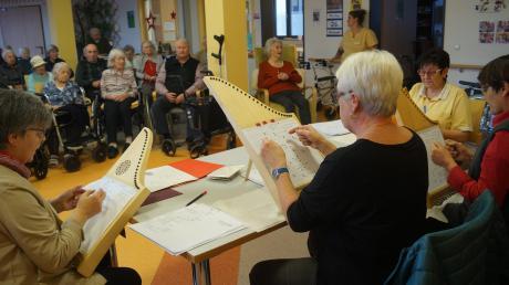 Vor der Übergabe der Veeh-Harfe als Geschenk ans Pflegezentrum Ederer gab Hanna Schwanke zusammen mit ihren Mitspielerinnen als klangliche Kostprobe ein kleines Konzert.