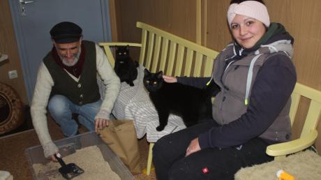 Mike Cannaday macht eine Katzentoilette sauber, während Cornelia Reiß das Streicheln übernommen hat. Das Meringer Tierparlament leistete Unterstützung im Tierheim Überacker und  nimmt viele Anregungen für eine künftige eigene Auffangstation mit.