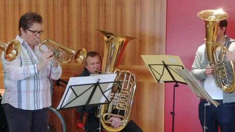 Eveline Trinkl, Petra Frey, Hans-Jürgen Trinkl, Harald Gabler und Ullrich Thanner brachten den Bewohnern des Friedberger AWO-Heims einen klingenden Neujahrsgruß.