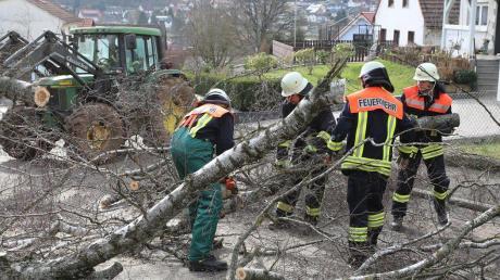 """Auf Einsätze wegen des Orkans """"Sabine"""" (hier in Hessen am Sonntag) bereiten sich auch die Feuerwehren in Aichach-Friedberg vor."""