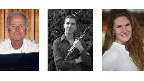 Die Sängerin Susanne Kapfer, der Sänger und Oboist Anselm Wohlfarth sowie der Organist und Leiter Roland Plomer.