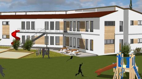 Ein Blick in die Zukunft: So stellen sich die Architekten die Erweiterung der Kita in Eurasburg vor.