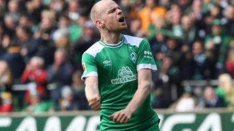 Werders Davy Klaassen jubelt über sein Tor zum 1:0 gegen den SCFreiburg.