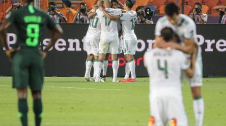 Algeriens Spieler bejubeln das 1:0 ihrer Mannschaft.