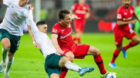 Leverkusens Julian Baumgartlinger (r) wird von Bremens Milot Rashica zu Fall gebracht, links läuft Bremens Marco Friedl. Foto: Rolf Vennenbernd/dpa