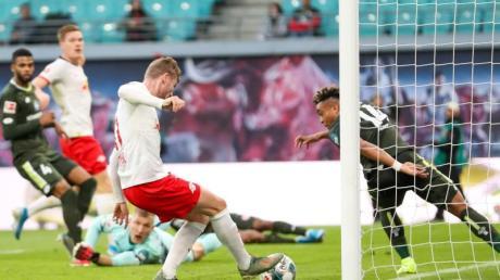 Leipzigs Timo Werner (M) hatte gehörigen Anteil am Leipziger Kantersieg gegen Mainz. Foto: Jan Woitas/dpa-Zentralbild/dpa