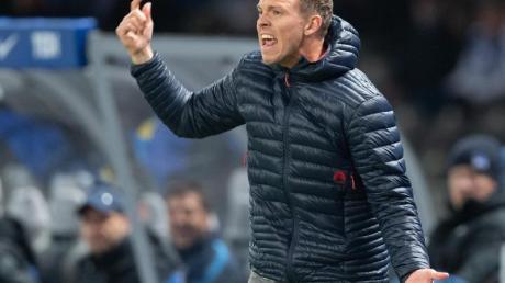 Trainer Julian Nagelsmann weißt auf die Macht der Fußballprofis hin. Foto: Soeren Stache/dpa-Zentralbild/dpa
