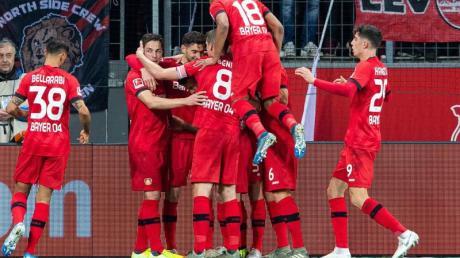 Leverkusens Mannschaft bejubelt den Führungstreffer gegen den FCSchalke 04.