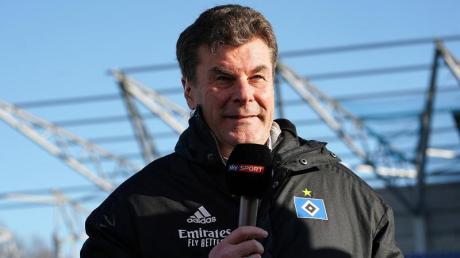 Der Hamburger Trainer Dieter Hecking im Fernsehinterview.