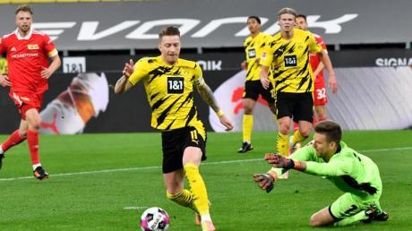 Marco Reus (M) sorgte beim Dortmunder Sieg gegen Union Berlin für die BVB-Führung.
