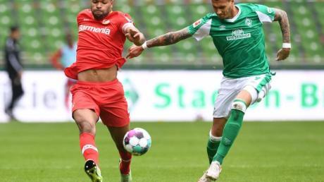 Werders Davie Selke (r) kämpft gegen Leverkusens Jonathan Tah um den Ball.