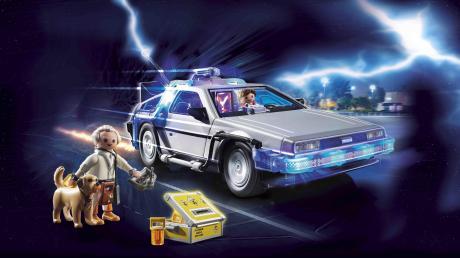 """So sieht das angekündigte Retro-Set zur Kultfilmreihe """"Zurück in die Zukunft"""" von Playmobil aus."""
