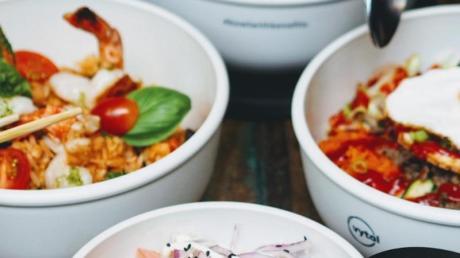 Die Mehrwegschalen des Start-ups Vytal. Der Anbieter stellt Gastronomen Mehrwegverpackungen zur Verfügung - zwei Aichacher Gaststätten machen mit.