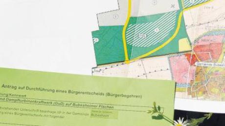 Das erneut gestartete Bürgerbegehren in Bubesheim gegen das geplante Gas- und Dampfturbinenkraftwerk richtet sich gegen die sechste Änderung des Flächennutzungsplans. In Gelb sind die geplanten Straßen eingezeichnet.