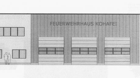 So könnte das neue Feuerwehrhaus aussehen (abgebildet ist hier nur ein Teil). Bei der Gestaltung soll allerdings noch etwas nachgebessert werden.