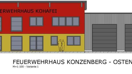 Das neue, eine Million Euro teure Feuerwehrhaus in Konzenberg soll auf der Ost- und Westseite hohe Fenster bekommen.