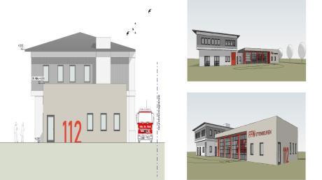 An der Ostseite des Kammeltaler Rathauses bekommt die Ettenbeurer Feuerwehr ein neues Gerätehaus mit vier Fahrzeugstellplätzen.