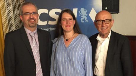 Bürgermeisterkandidat Roman Gepperth mit der CSU-Ortsvorsitzenden Elisabeth Eiband und dem Landtagsabgeordneten Alfred Sauter.