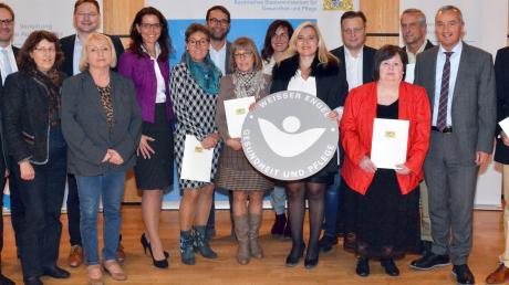 Die Ausgezeichneten aus Schwaben mit Landes- und Kommunalpolitikern und der bayerischen Gesundheitsministerin Melanie Huml (Sechste von rechts) in Günzburg.