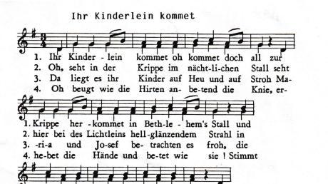 """Das beliebte Weihnachtslied """"Ihr Kinderlein, kommet"""" wird als Waldstetter Krippenlied mit einer anderen Melodie gesungen. Wir drucken das Notenblatt ab, das uns Josef Müller von der Chorgemeinschaft Waldstetten zur Verfügung gestellt hat. Dann können Sie vor Weihnachten noch üben."""