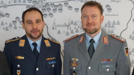 Das Bild zeigt (von links) Landrat Hubert Hafner, Oberstleutnant Martin Lesti, Oberstleutnant Peter Greyer, Christoph Langer (Landratsamt).