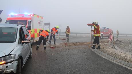 Einer der Unfälle im Bereich des Limbacher Kreisverkehrs.