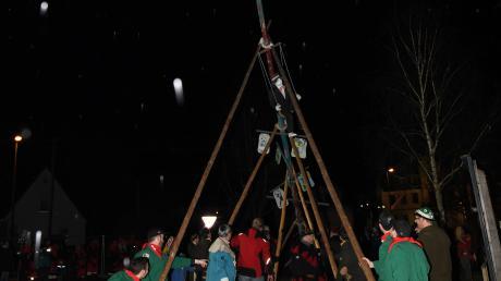Der 13 Meter hohe Narrenbaum in Haldenwang soll Glück bringen.