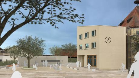 So könnte der Platz vor dem neuen Rathaus in Jettingen-Scheppach in Zukunft aussehen.