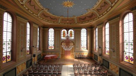 Das ist der Hauptraum der früheren Synagoge Ichenhausen. Der Kreistag hat sich in einer Resolution gegen Antisemitismus ausgesprochen.