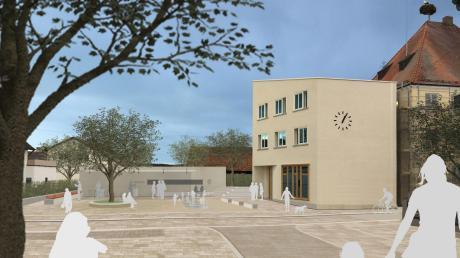 So soll der Platz vor dem neuen Rathaus in Jettingen-Scheppach in Zukunft aussehen.