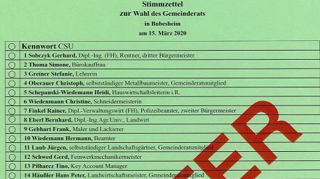 So gewöhnungsbedürftig sieht der Stimmzettel für den Gemeinderat in Bubesheim aus.