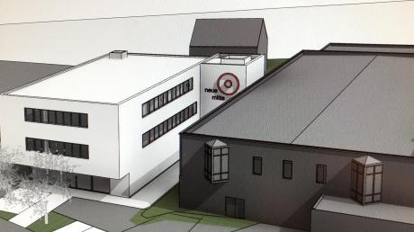 Das geplante Gesundheitszentrum (weiß). Mit einem Verbindungsterminal zum Gebäude, in dem sich der Edeka und ein Fitnesscenter befinden (schwarz), ist der gesamte Komplex komplett barrierefrei.